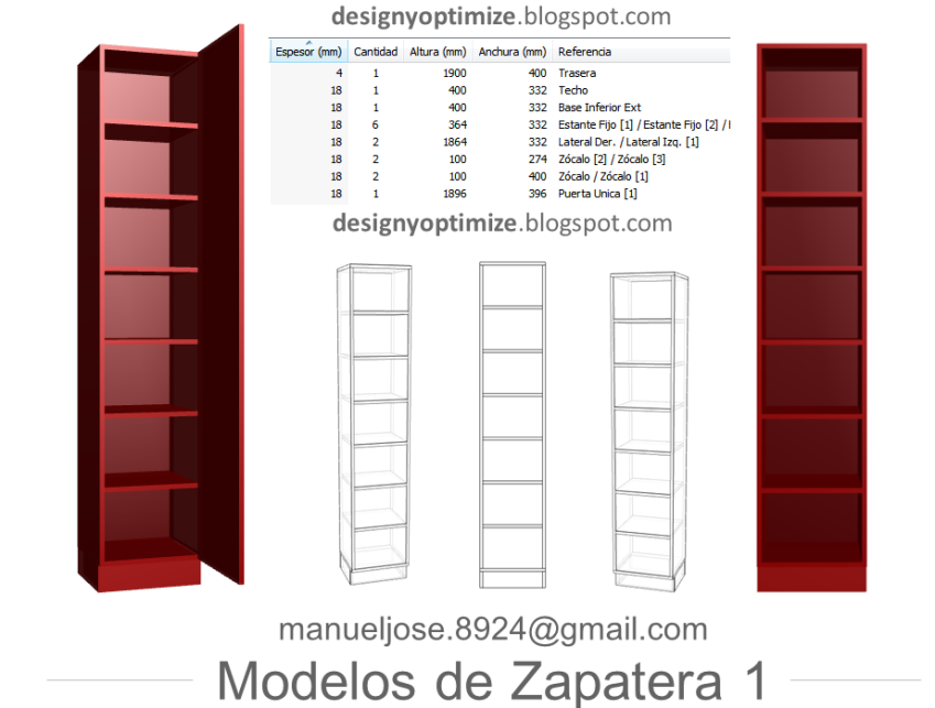 Dise o de muebles madera construir zapatera con planos for Medidas de muebles para planos