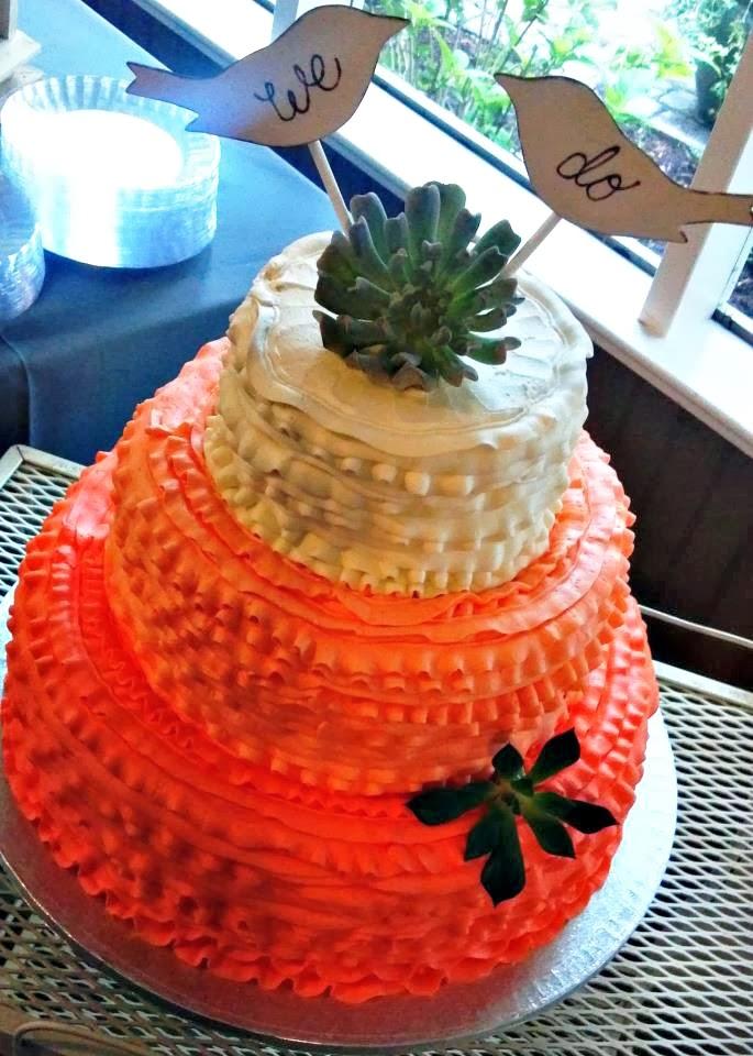 coral bird ombre wedding cake