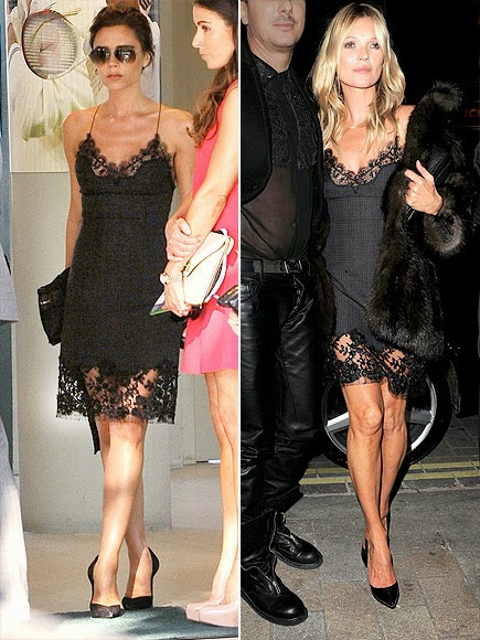 Victoria Beckham and Kate Moss in Wool silk tartan and lace dress by Louis Vuitton