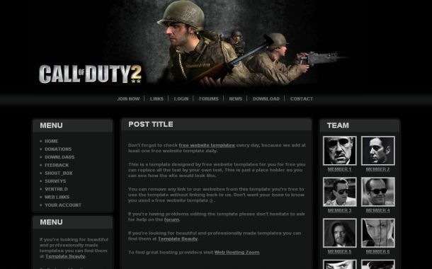 PSD CSS Black Call Of Duty 2 Game Website Template