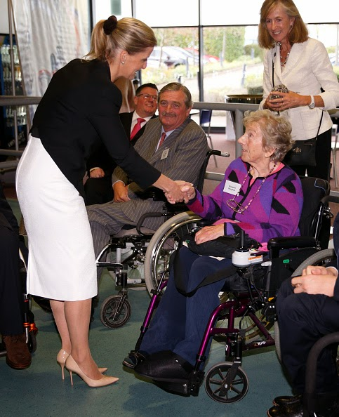 Sophie, Countess of Wessex meets Margaret Maughan, Britain's first ever gold medallist at the Paralympic Games, during a visit to WheelPower at the Stoke Mandeville Stadium
