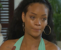 Rihanna cries during the interview