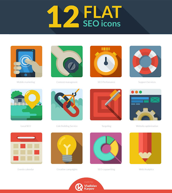 flat seo icons 10 Amazing Free Download Flat Icons PSD
