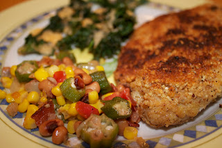 Almond Crusted Tilapia and Okra Black-Eye Pea Salad