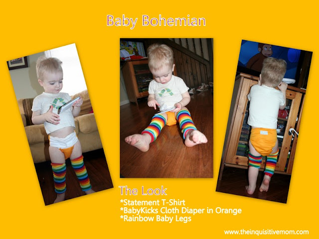 Baby Bohemian - Statement t-shirt, BabyKicks Cloth Diaper, and Rainbow Leg Warmers