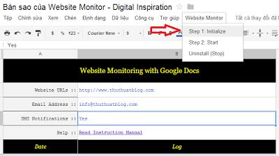 Uptime website with Google Docs