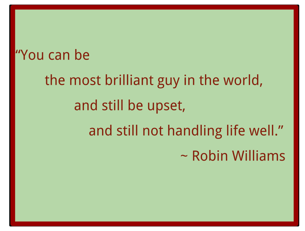 "Robin Williams ""You can be the most brilliant guy in the world, and still be upset, and not handling life well"""