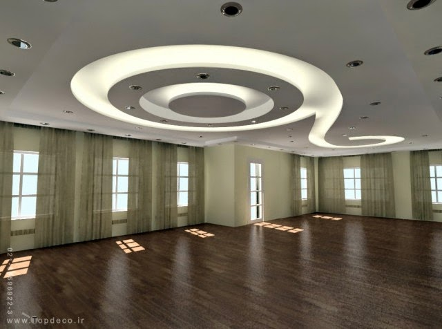 Modern false ceiling with LED lighting system : gypsum false ceiling design with LED lights for open rooms from www.decor-zoom.com size 640 x 476 jpeg 46kB