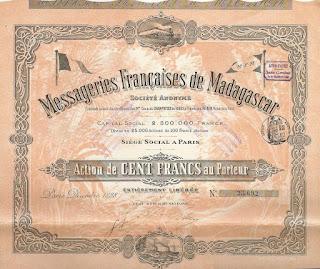 share in the Messageries Françaises de Madagascar