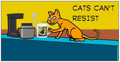 "Cartoon (panel 5) of Cat Ordering Mug from Zazzle ""Proud of Saving Animals"" by RoseWrites"