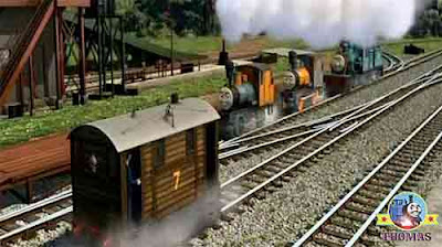 Thomas the train engine friends Bash Dash and Ferdinand the logging locomotives Misty Island tunnel