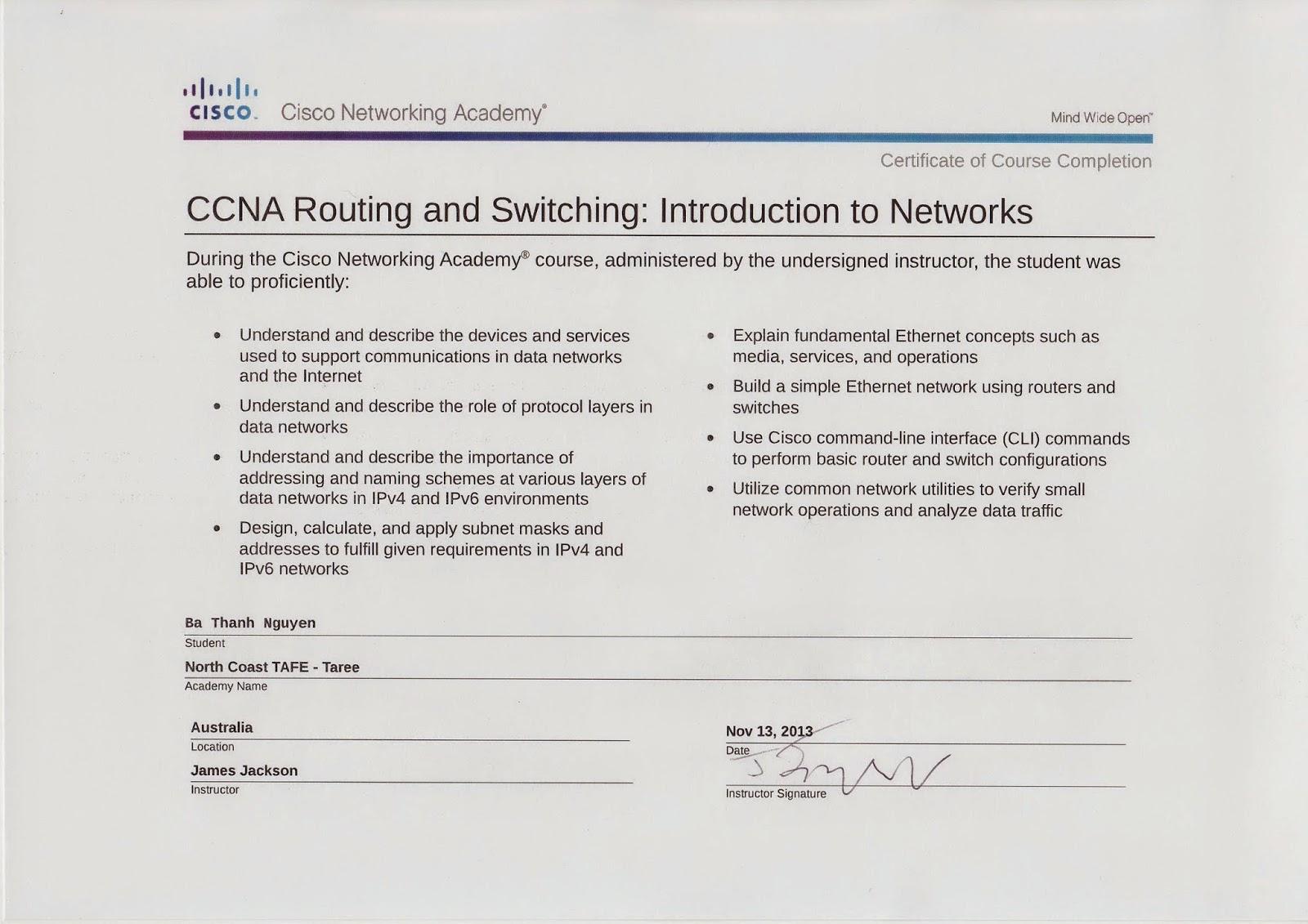 BaThanh\'s Tai chi: 4 Parts Cisco CCNA Certificate