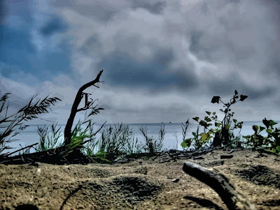 HDR photo, sand, lake shore, beach