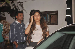 Jhanvi Kapoor in Spicy Transparent Cream Top and Black Skirt with Mother Sridevi and Boney Kapoor