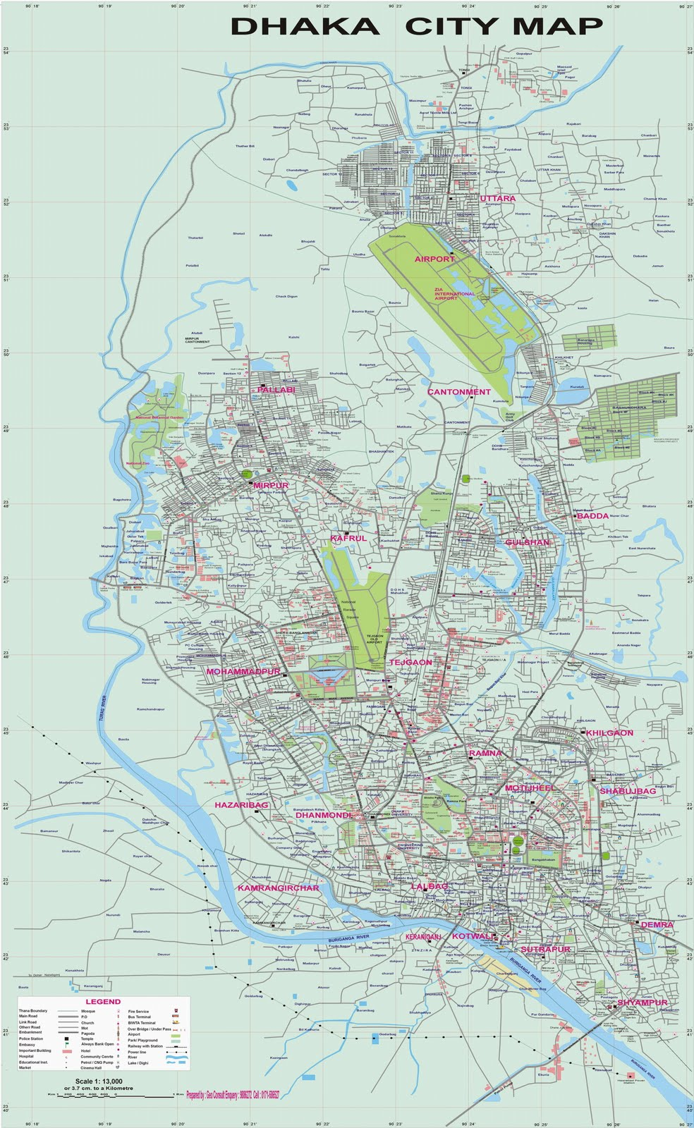 Dhaka: Maps of Dhaka City and Bangladesh Transport System