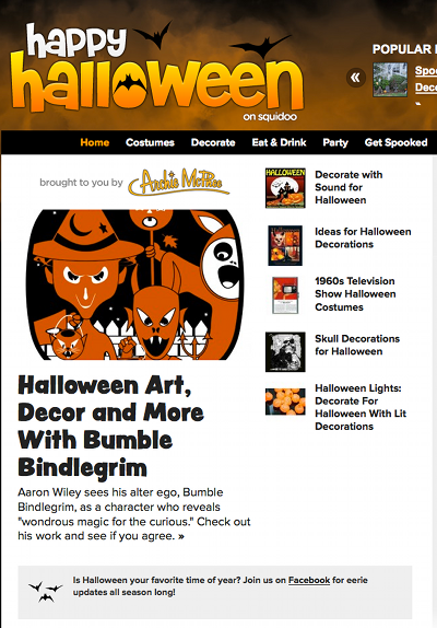 Happy Halloween on Squidoo Interview with Halloween vintage-style artist Bumble Bindlegrim