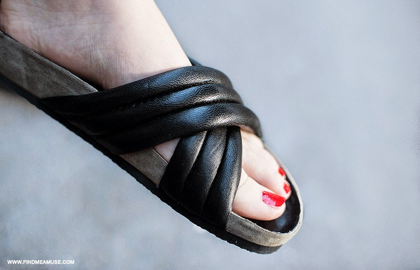 Mandi from Find Me A Muse blog wearing Tony Biano Indiana slides