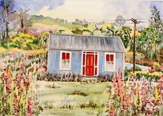 Very Charming Country Cottage with Garden (3) Watercolor on paper, 29.5x42cm