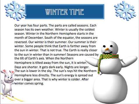 Classroom Freebies Winter Seasons