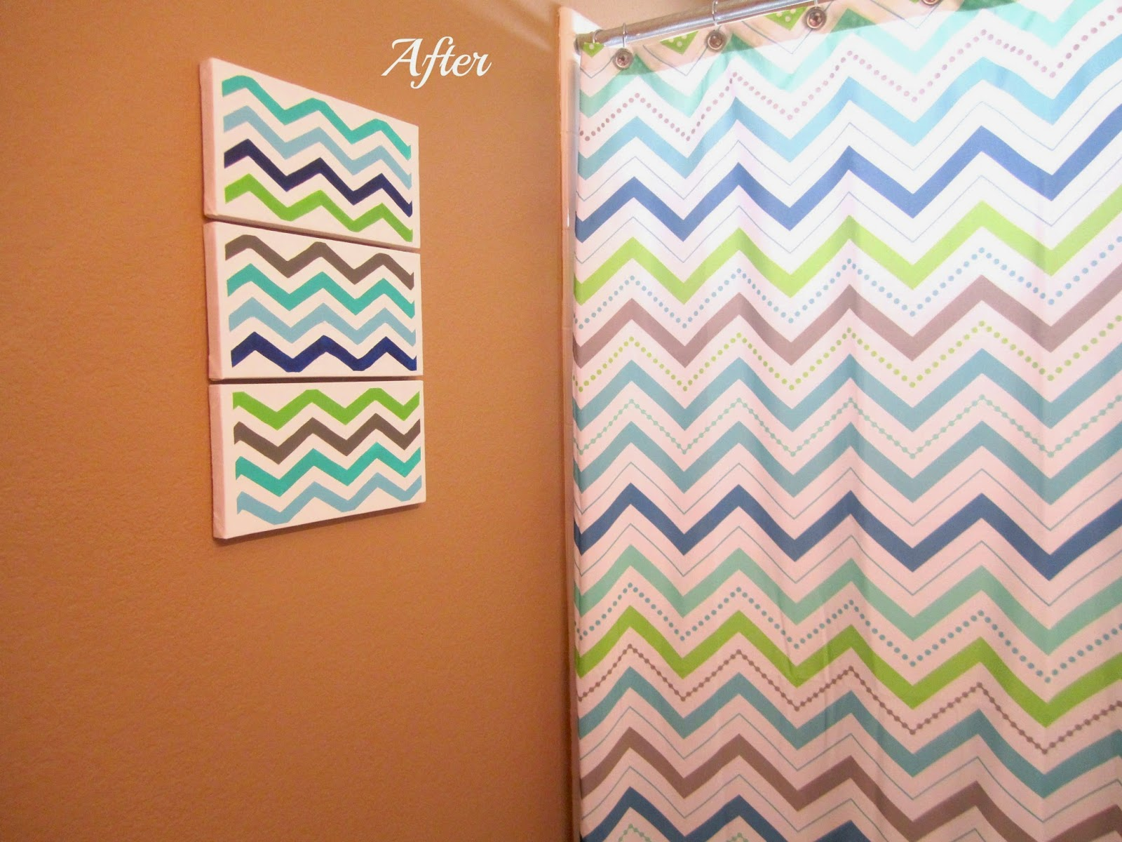 Aqua Chevron Shower Curtain - I had 3 6x12 blick studio canvases on hand and luckily i had every paint color on hand that matched the shower curtain