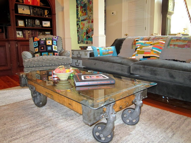 elegant wood industrial cart coffee table with simple wheel
