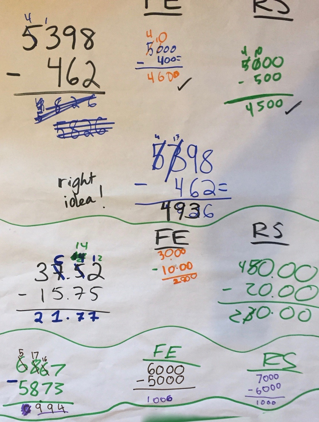 ms. bowen smath: decimal addition and subtraction & adaptations poster
