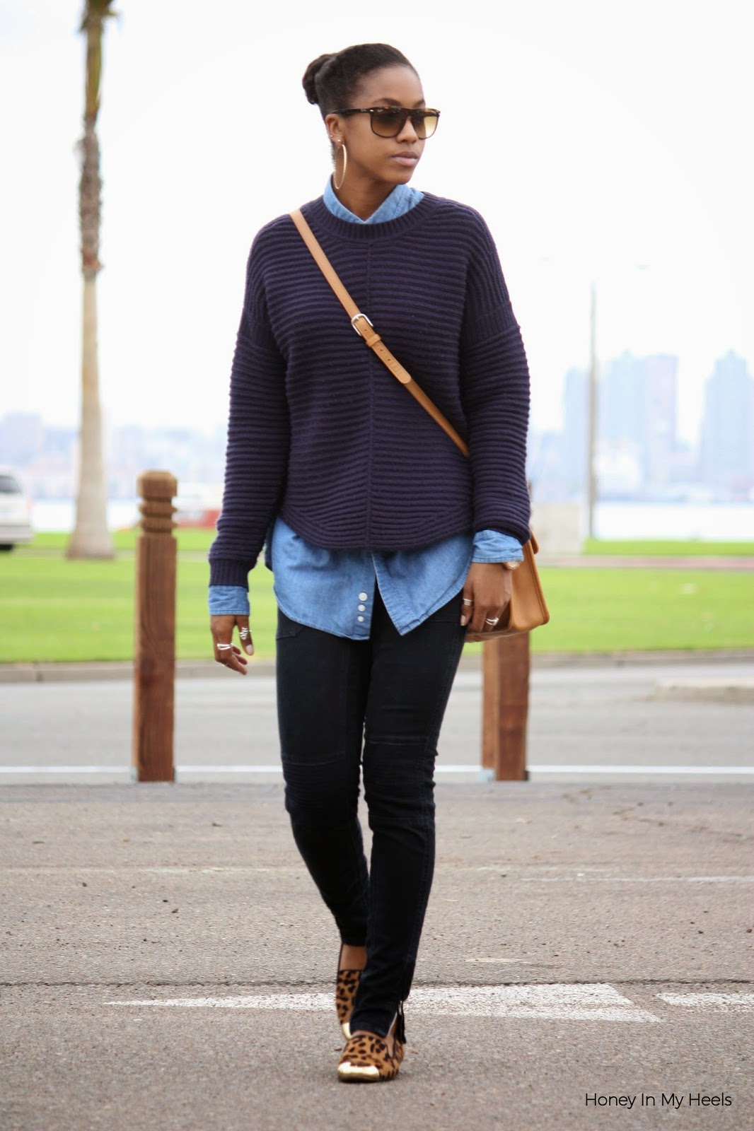 Wearing Max Studio knit sweater Vigoss jeans 14th & Union flats Ray Ban sunglasses Coach bag