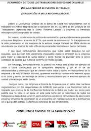 La Confluencia Sindical de la Bahía de Cádiz por la Readmisión de los trabajadores despedidos en Ai