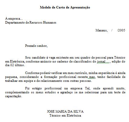 Carta de apresentacao para assistente administrativo