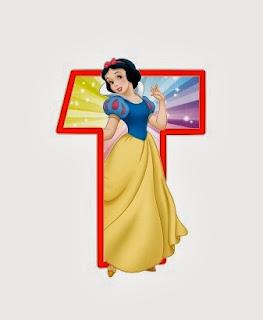 Alfabeto de personajes Disney con letras grandes T Blancanieves.