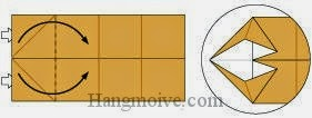 Bước 5: Từ vị trí mũi tên, mở lớp giấy, kéo và gấp cạnh giấy sang bên phải.
