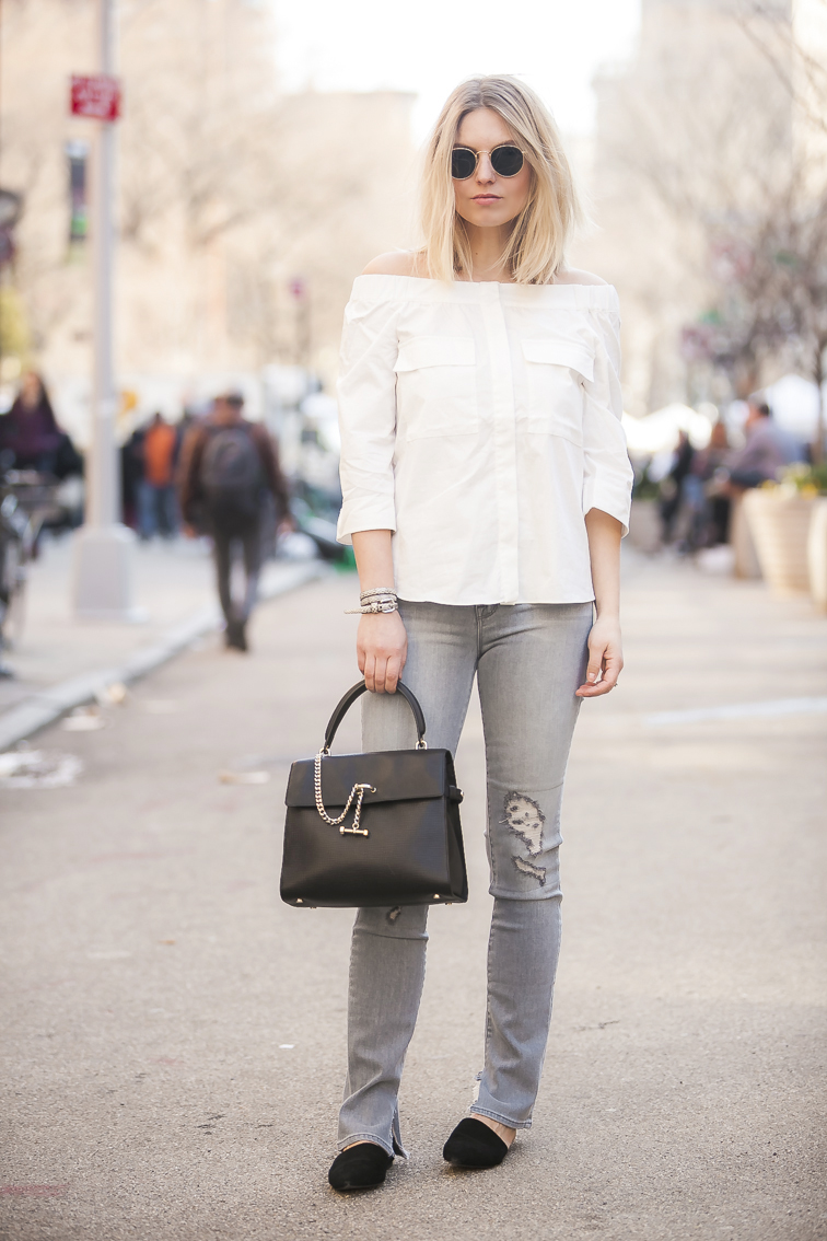 J Brand jeans, H&M top, Ray-Ban sunglasse, Luana Italy bag, Jeffrey Campbell x Free People slide mules