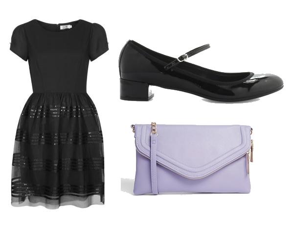 Look petite robe noire Fin d'année Jour de l'an Mode