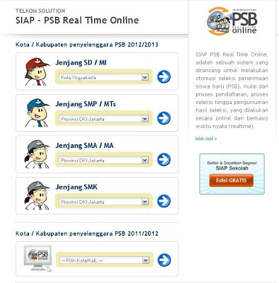 www.siap-psb.com Pengumuman PSB online SD SMP SMA  SMK 2012-2013