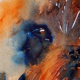 Eyes appears on early stage. Watercolor in progress by Olga Peregood