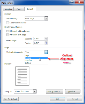microsoft word  Vertically align some text to top and