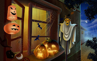 Pumpkins On Window Dark Gothic Wallpaper