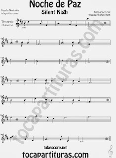 Partitura de NOCHE DE PAZ para Trompeta y Fliscorno Villancico Christmas Song SILENT NIGH Sheet Music for Trumpet and Flugelhorn Music Scores