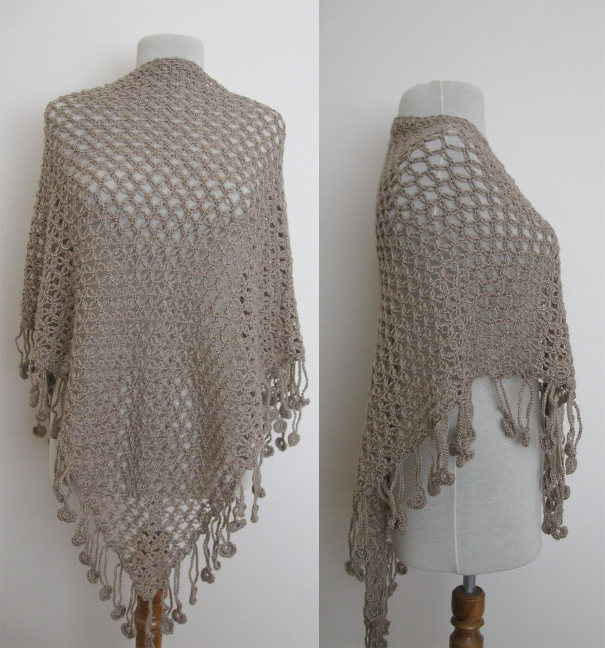 Knitting and beading wedding bridal accessories and free pattern taupe brown triangle shawl wrap shrug stole neckwarmer scarf wedding bridal bridesmaid ready to ship bankloansurffo Image collections