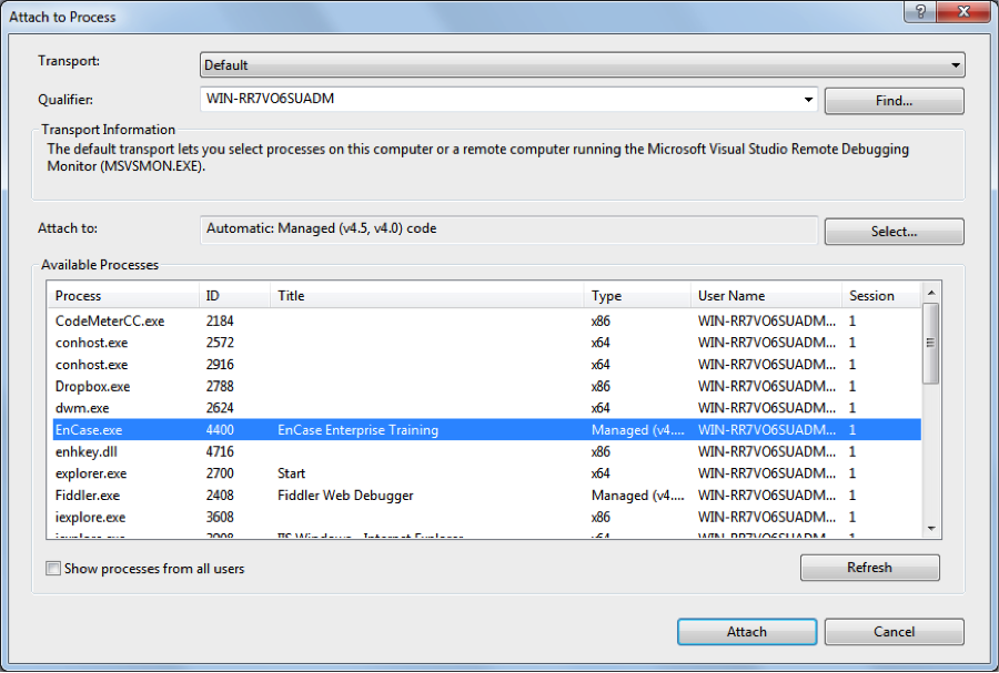 Microsoft Visual Studio Attach to Process Window Showing EnCase.exe Process