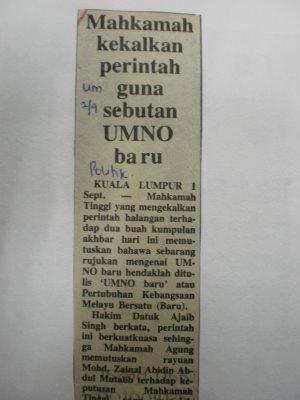 umno baru ditubuhkan 1988