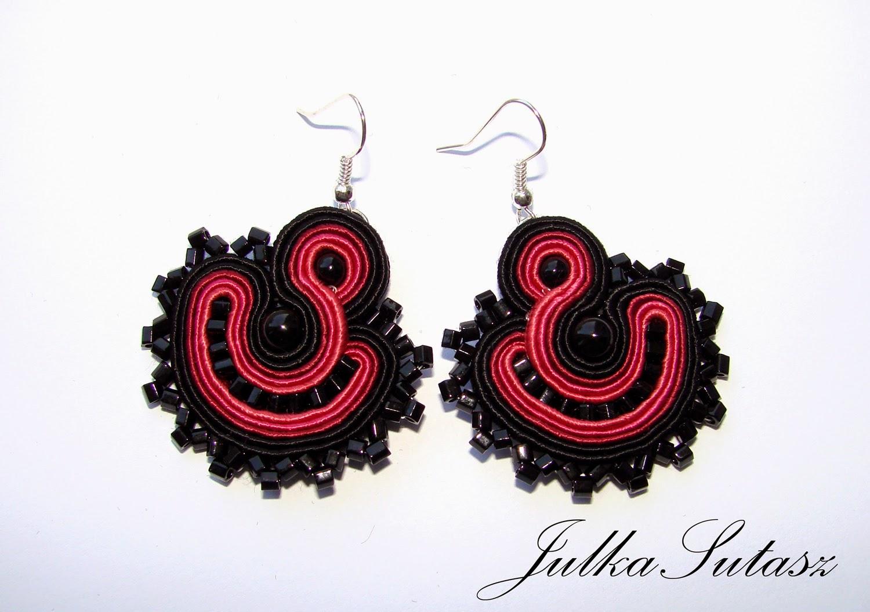 *Colorful fans: raspberry* mini soutache earrings