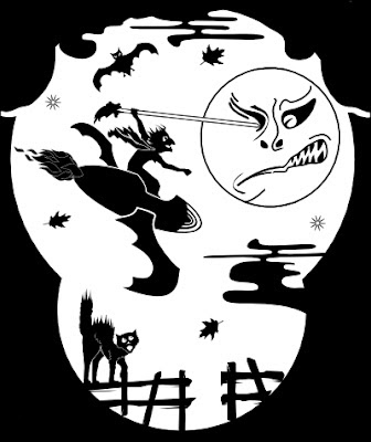 Witch on a rocket pokes the moon in the eye in image by Robert Aaron Wiley for #4 Halloween lantern by Bindlegrim