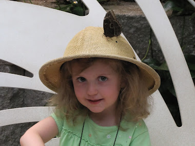 Butterfly Sitting on Little Girl's Hat!