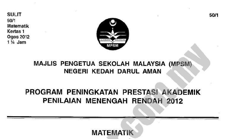 Pmr Negeri Kedah Skema Kertas Soalan Ramalan Matematik