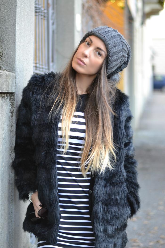 pelliccia eco abito righe