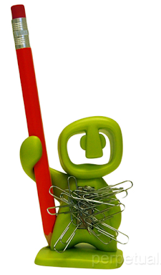 paper clip and single-pencil holder, green, human shape