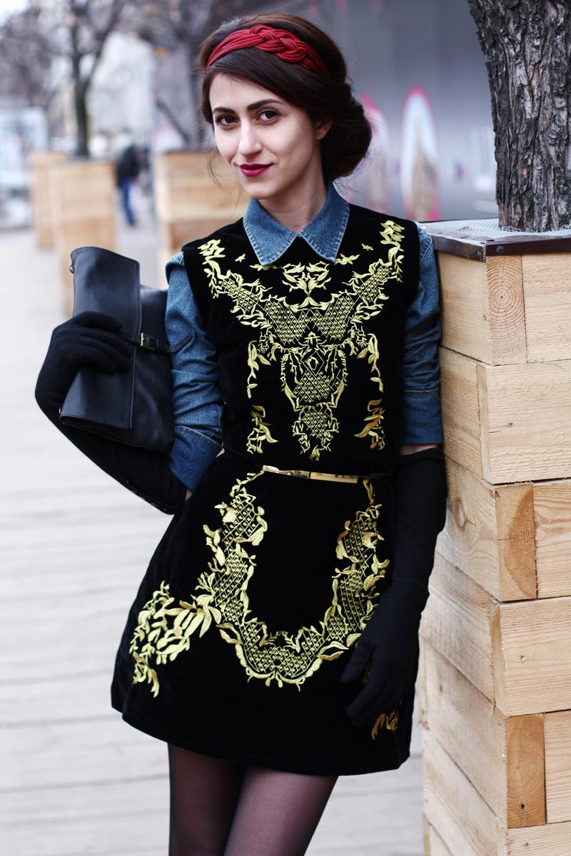 Черное С Золотом Платье