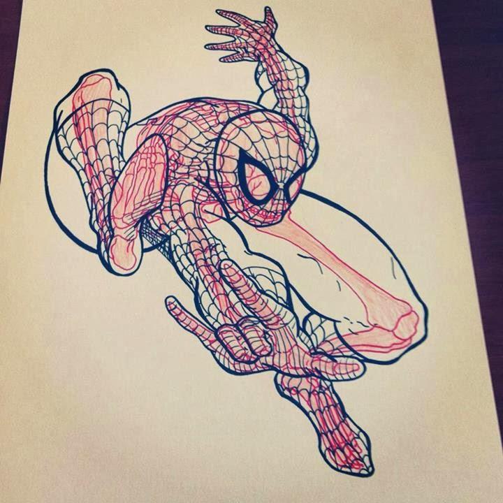 14-Spiderman-Chris-Panda-X-ray-Comics-Cartoons-Pin-up-Illustrator-www-designstack-co