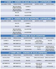 HORÁRIO DE AULAS - VESPERTINO